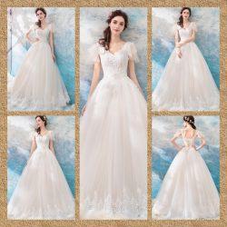 Short Sleeve White Formal Dresses Floor Length Ball Gowns 2021-2022