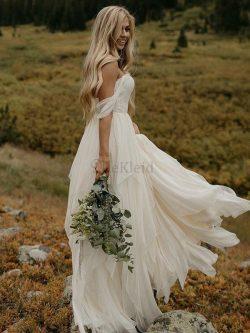 Normale Taille Prinzessin Gerüschtes Ärmelloses Hübsch A-Line Bodenlanges Brautkleid – MeK ...