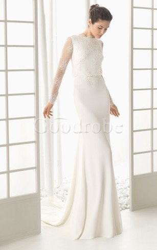 Robe de mariée classique facile sans empire col ras du cou a eglise – GoodRobe