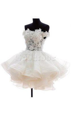 Robe de mariée courte nature facile appliques boutonné – GoodRobe