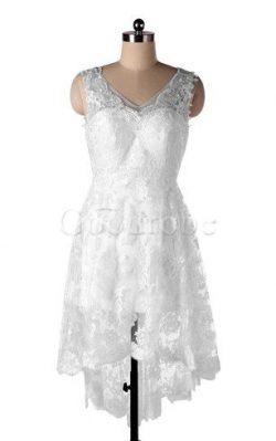 Robe de mariée facile dos nu decoration en fleur manche nulle fermeutre eclair – GoodRobe