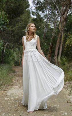 Robe de mariée festonné longueur au ras du sol v encolure en chiffon ceinture – GoodRobe