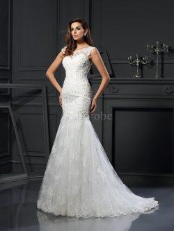 Robe de mariée longue appliques de sirène de traîne mi-longue avec manche courte – GoodRobe