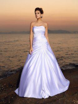 Robe de mariée longue avec sans manches de bustier en satin avec perle – GoodRobe