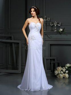 Robe de mariée longue en chiffon cordon avec sans manches avec perle – GoodRobe