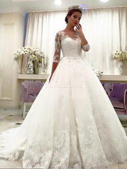 Robe de mariée naturel avec décoration dentelle avec manche 3/4 en tulle de col bateau – G ...