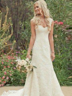 Robe de mariée naturel de sirène avec décoration dentelle de col en v manche nulle – GoodRobe