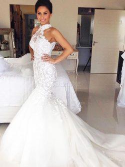 Robe de mariée naturel de sirène de traîne moyenne avec sans manches dénudé – GoodRobe
