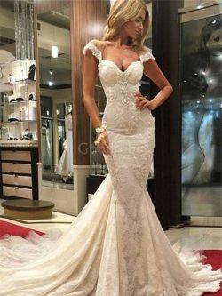 Robe de mariée naturel de traîne courte avec décoration dentelle v encolure de sirène – Go ...