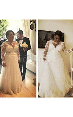 Robe de mariée plissé longue avec manche longue en dentelle lache – GoodRobe