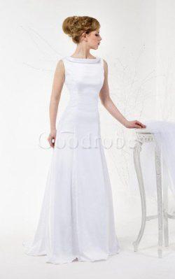 Robe de mariée plissage col en v foncé de col haut en satin longueur au ras du sol – GoodRobe