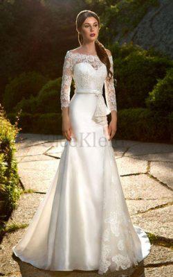 Satin Romantisches Luxus Brautkleid mit Applikation mit Knöpfen – MeKleid.de