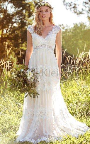 Spitze Kurze Ärmeln Sexy Anständiges Brautkleid mit Reißverschluss – MeKleid.de