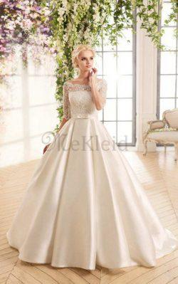 Spitze Reißverschluss Bodenlanges Brautkleid mit Halben Ärmeln mit Tasche – MeKleid.de