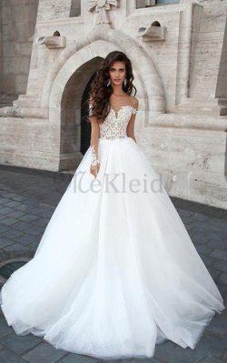 Tüll Juwel Ausschnitt Tiefer V-Ausschnitt Brautkleid mit Applike mit Bordüre – MeKleid.de