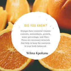 Wilma Kpohanu tells the benefits of Eating Oranges