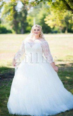 Abito da Sposa in Pizzo Vintage Ball Gown Allacciato in Tulle – Gillne.it