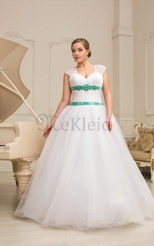 A-Line Gerüschtes Perlenbesetztes Bodenlanges Brautkleid mit Kurzen Ärmeln – MeKleid.de