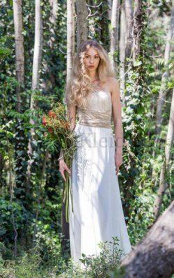 Chiffon Ärmelloses Sexy Bescheidenes Brautkleid mit Schleife – MeKleid.de
