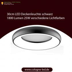 30cm LED Deckenleuchte schwarz 1800 Lumen 25W verschiedene Lichtfarben