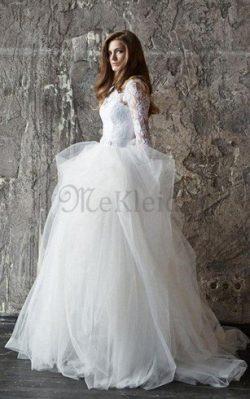 Duchesse-Linie Romantisches Luxus Brautkleid mit Langen Ärmeln mit Perlen – MeKleid.de