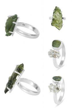 Natural Moldavite Stone Ring.
