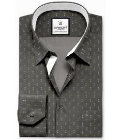 Grey Printed Slim Fit Shirts