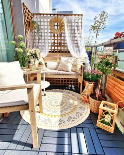 Aesthetic Balcony with wooden furniture