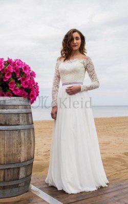Lange Ärmeln Bescheidenes Elegantes Brautkleid mit Gürtel mit Applikation – MeKleid.de