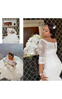 3 /4 Länge Ärmeln Spitze Luxus Brautkleid mit Rücken Schnürung mit Knöpfen – MeKleid.de