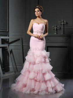 Meerjungfrau Stil Normale Taille Ärmelloses Perlenbesetztes Organza Brautkleid – MeKleid.de