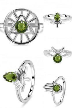 Real Green Moldavite Ring