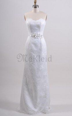 Plissiertes Spitze Normale Taille Brautkleid mit Bordüre mit Rücken Schnürung – MeKleid.de