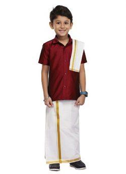 Maroon Kids Shirt, Dhoti, Towel 3 In 1 Set