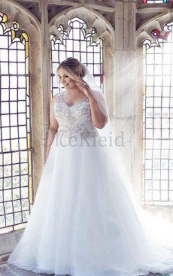 Ärmelloses Extravagantes Bodenlanges Konservatives Brautkleid mit Perlen – MeKleid.de