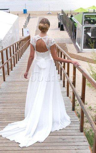 Robe de mariée facile de traîne courte avec manche courte avec chiffon a plage – GoodRobe