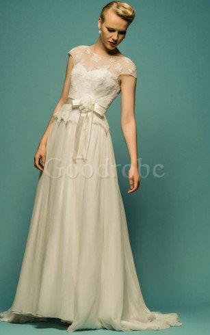 Robe de mariée humble naturel avec nœud textile en tulle avec manche courte – GoodRobe