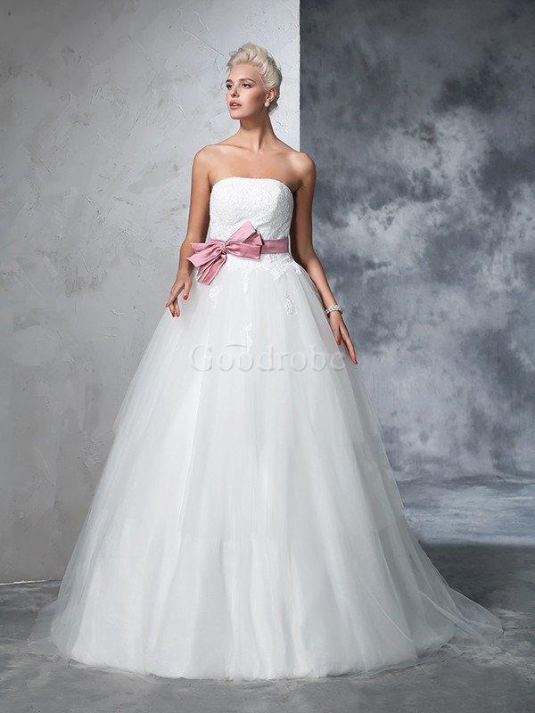 Robe de mariée longue cordon de traîne moyenne manche nulle orné de nœud à boucle – GoodRobe