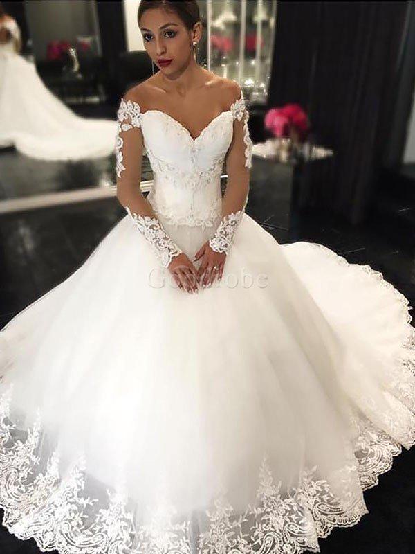 Robe de mariée naturel epaule nue manche nulle de mode de bal en tulle – GoodRobe