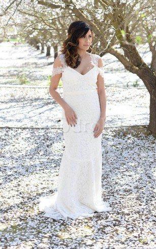 Robe de mariée naturel longue avec manche courte de fourreau en dentelle – GoodRobe