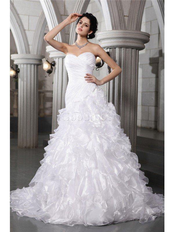 Robe de mariée plissage ligne a au drapée col en forme de cœur cordon – GoodRobe
