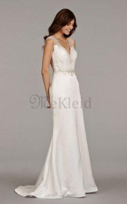 Strand Kurze Ärmeln V-Ausschnitt Luxus Brautkleid mit Perlen – MeKleid.de