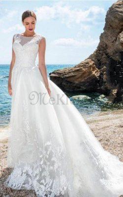 Strand Spitze Sweep Zug Reißverschluss Brautkleid mit Applikation – MeKleid.de