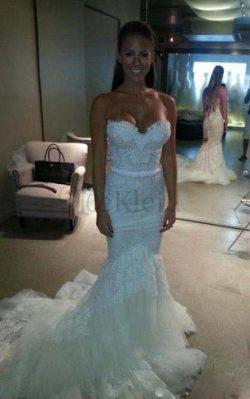 Tüll Kathedral Schleppe Extravagantes Brautkleid mit Reißverschluss mit Plissierungen – Me ...