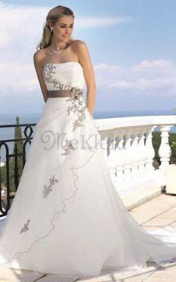 Tüll Natürliche Taile Bodenlanges Brautkleid mit Applike mit Reißverschluss – MeKleid.de