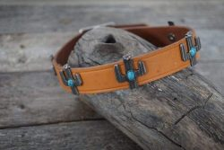 Turquoise leather dog collars