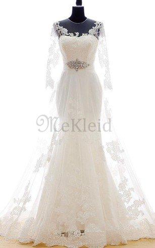 Zeitloses Juwel Ausschnitt Plissiertes Schlüsselloch Rücken Brautkleid aus Spitze – MeKleid.de
