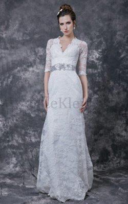 Gekerbter Ausschnitt Sweep Zug Elegantes Brautkleid mit Kristall mit Bordüre – MeKleid.de