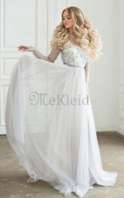Klassisches Beach Stil Lange Ärmeln Juwel Ausschnitt Tiefer V-Ausschnitt Brautkleid – MeKl ...