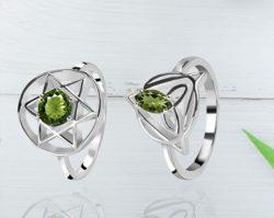 Green Moldavite Stone Ring At Wholesale Price.
